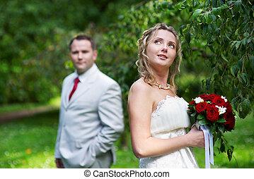 noiva, casório, noivo, passeio