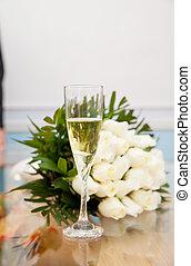 noiva, champanhe