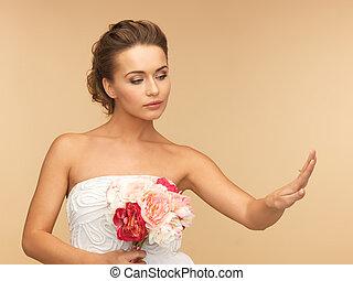 noiva, com, anel casamento