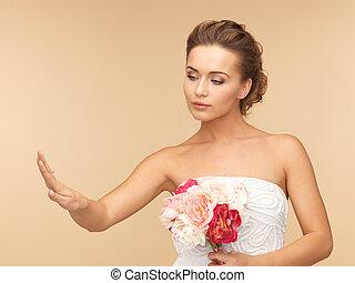 noiva, com, casório, ou, anel acoplamento