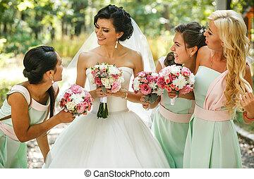 noiva, damas honra, admirar