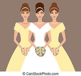 noiva, damas honra, amarela
