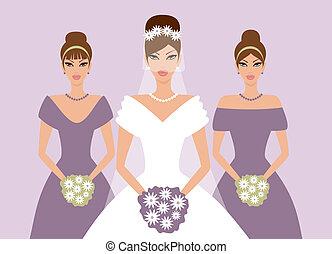 noiva, damas honra, violeta