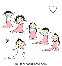 noiva, desenho, seu, damas honra