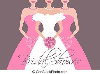 noiva, e, damas honra, em, cor-de-rosa