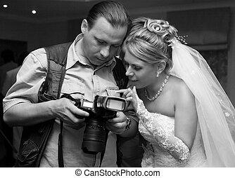 noiva, e, fotógrafo