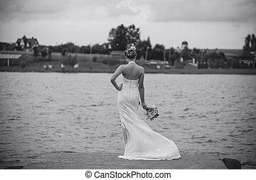 noiva, em, a, lago