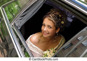 noiva, em, casamento branco, vestido