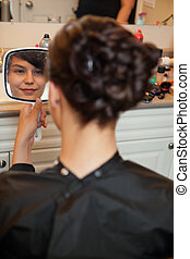 noiva, em, salão cabelo