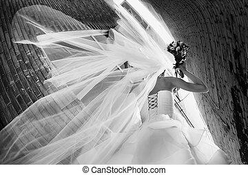 noiva, em, um, vestido casamento