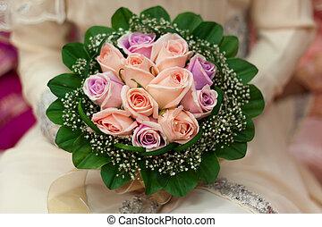 noiva, flor, mão