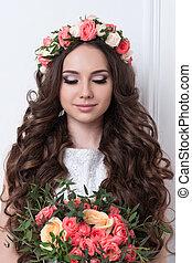noiva, flores, deslumbrante
