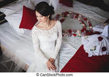 noiva, hotel, jovem, cama, sentando