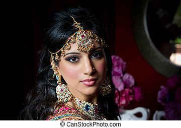 noiva, indianas, deslumbrante