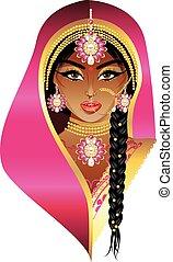 noiva, indianas, retrato