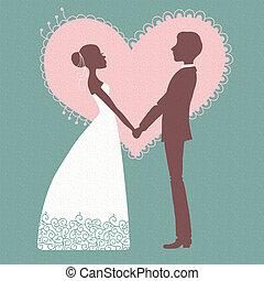 noiva, invitation., noivo, silueta, casório