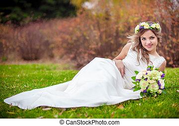 noiva, jardim, casório