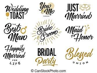 noiva noivo, casório, lettering, frases, vetorial, jogo