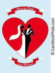 noiva noivo, com, coração vermelho