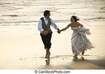 noiva noivo, ligado, praia.