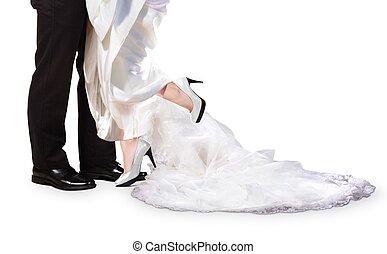 noiva noivo, pés, ligado, dia casamento