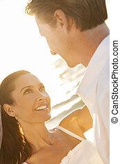 noiva noivo, par casado, praia ocaso, casório