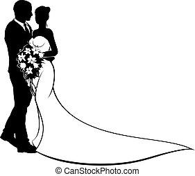 noiva noivo, silueta, casório, conceito