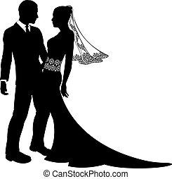 noiva, par, noivo, silueta, casório
