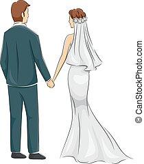 noiva, par, noivo, vista traseira