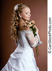 noiva, penteado, luxo, casório