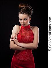 noiva, posar, bonito, casório, estúdio, vestido, vermelho