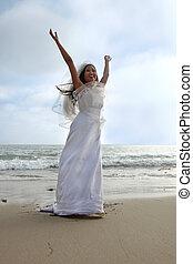noiva, praia, braços cima
