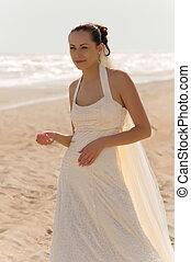 noiva, praia, plataformas, jovem