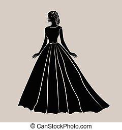 noiva, pretas, silueta, vestido, casório
