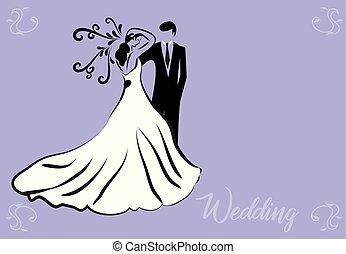 noiva, símbolo, noivo, cartão, casório