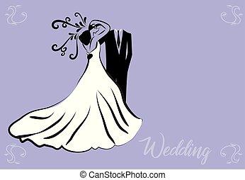 noiva, símbolo, noivo, casório