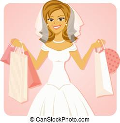 noiva, segurando, bolsas para compras