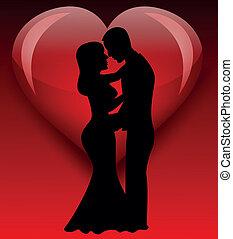 noiva, silueta, amor