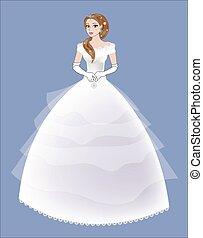 noiva, vestido branco, lacy