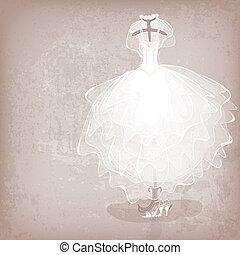 noiva, vestido, ligado, grungy, fundo