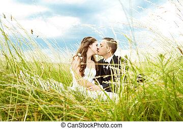 noivinhos, beijando, ensolarado, capim
