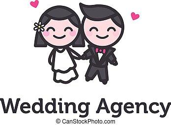 noivo, agência, logotype, noiva, vetorial, casório, caricatura