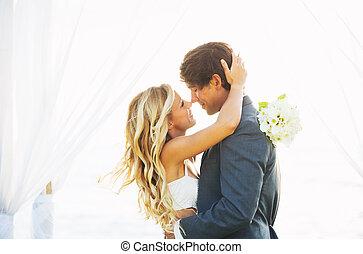 noivo, amor, casado apenas, noiva, casório