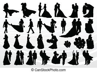 noivo, cobrança, noiva, silhuetas, ilustração, casório