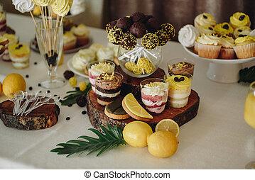 noivo., cupcakes, sweets., noiva, casório, tabela