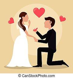 noivo, dar, anel, noiva, encantador