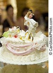 noivo, decoração, noiva, estatueta, bolo casamento