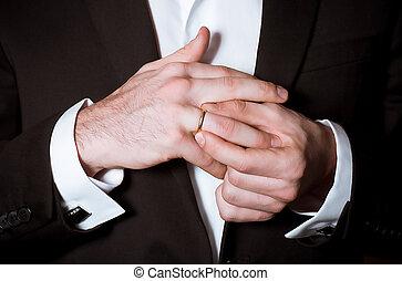 noivo, elegância, mãos