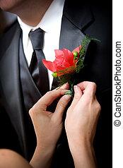 noivo, flor, casório
