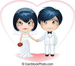noivo, noiva, 3, casado, obtendo